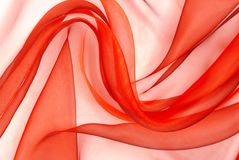 Красная ткань organza Стоковые Фото