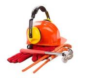 Красная трудная шляпа с перчатками Стоковое Изображение RF
