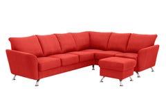 Красная угловая софа Стоковые Фото