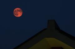 Красная луна в лунном затмении Стоковое Изображение RF