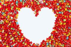 Красная форма сердца бумаги звезды на белой предпосылке, космосе экземпляра для yo Стоковая Фотография