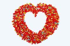 Красная форма сердца бумаги звезды на белой предпосылке, космосе экземпляра для yo Стоковые Фотографии RF