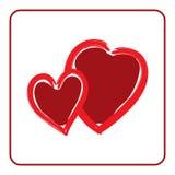 Красная форма текстуры щетки значка сердец Стоковые Изображения