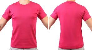 Красная футболка. Задняя часть. Фронт. Стоковое Изображение RF