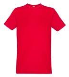 Красная футболка изолированная на белой насмешке предпосылки вверх стоковые фотографии rf