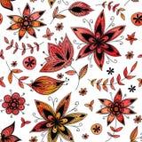Красная флористическая безшовная картина иллюстрация вектора