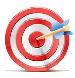 Красная цель и стрелка цели дротиков. Стоковое Изображение