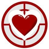 Сердце в цели Стоковые Фото