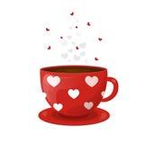 Красная чашка кофе с белыми сердцами Иллюстрация вектора на день ` s валентинки От испаряться блюд Стоковая Фотография RF