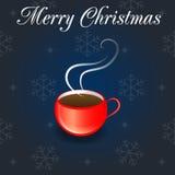 Красная чашка на предпосылке зимы Стоковая Фотография