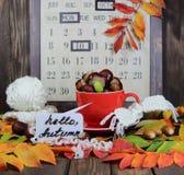 Красная чашка с связанным шарфом, каштанами и жолудями на фоне календаря осени с надписью здравствуйте! a Стоковые Фото