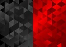 Красная черная низкая поли предпосылка мозаики треугольников иллюстрация штока