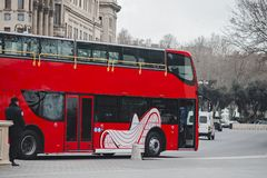 Красная шина города стоковая фотография rf