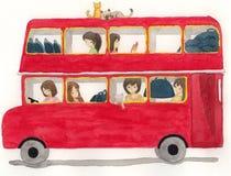 Красная шина с девушками и иллюстрацией кота Стоковая Фотография RF