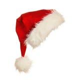 Красная шляпа Санты при мех изолированное на белой предпосылке Стоковое фото RF