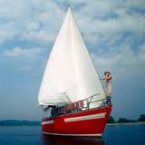 красная яхта Стоковые Изображения