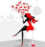 красная девушка Стоковое Фото