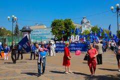 Краснодар, Россия - 1-ое мая 2017: & x22; Объединенное Russia& x22; партия принимает участие Стоковая Фотография