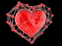 Красное абстрактное полигональное сердце на черной предпосылке Стоковое Изображение RF