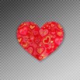 Красное богато украшенное бумажное origami формы сердца с тенью иллюстрация вектора