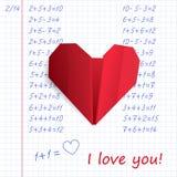 Красное бумажное сердце origami в книге тренировки на математике иллюстрация вектора