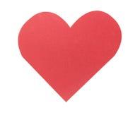 Красное бумажное сердце изолированное на белой предпосылке Стоковая Фотография RF