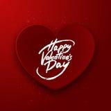 Красное бумажное сердце, счастливая литерность ручки щетки дня валентинки, вектор Стоковые Фотографии RF