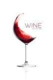 Красное вино в стекле воздушного шара Дизайн выплеска Стоковые Фото