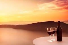 красное вино захода солнца Стоковые Фотографии RF