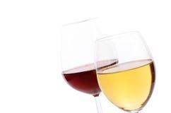 Красное вино и белое вино Стоковые Изображения