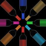 Красное вино и бутылка Стоковые Фото