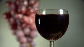 Красное вино полито в стекло на светлой предпосылке видеоматериал