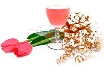 красное вино тюльпанов тесемки Стоковое Изображение RF