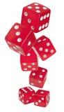 Красное глянцеватое dices на белой предпосылке Стоковые Фотографии RF