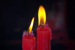 Красное горение свечи Стоковая Фотография RF