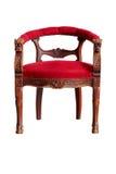 Красное деревянное кресло изолированное на белой предпосылке, пути клиппирования Стоковые Изображения