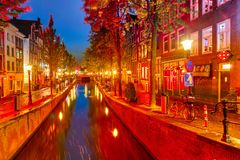Красное заречье в Амстердам Стоковая Фотография RF