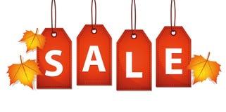 Красное знамя продаж с листьями осени бесплатная иллюстрация