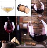Красное и белое вино с коллажем шампанского Стоковые Изображения RF