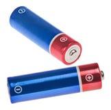 2 красное и голубые батареи на белизне Стоковое Изображение