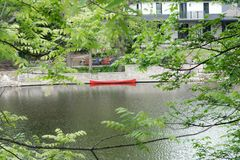 Красное каное на поводке около дома на реке Стоковое Изображение
