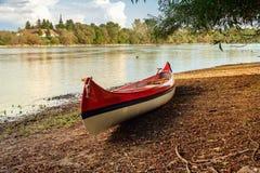 Красное каное на пляже на реке Дунае Стоковые Изображения