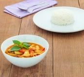 Красное карри свинины (Panang) с рисом Стоковые Изображения RF