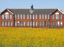 Красное кирпичное здание в поле Стоковые Фотографии RF