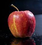 Красное королевское торжественное яблоко с падениями воды Стоковое Фото