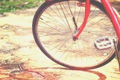 Красное колесо велосипеда стоковая фотография rf