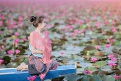 Красное море лотоса стоковые изображения rf