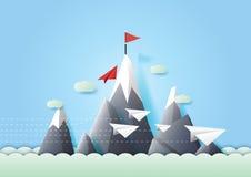Красное направление изменения самолета бумаги от группы иллюстрация вектора