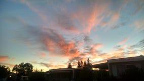 Красное небо в утре Стоковые Фотографии RF