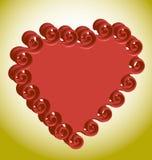 Красное объемное сердце на предпосылке золота Стоковое Изображение RF